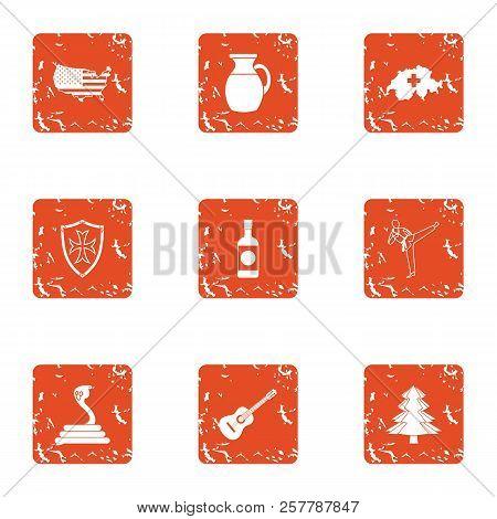 Usa Heartland Icons Set. Grunge Set Of 9 Usa Heartland Icons For Web Isolated On White Background
