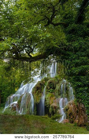 French Landscape - Jura. Waterfall In The Jura Mountains After Heavy Rain.