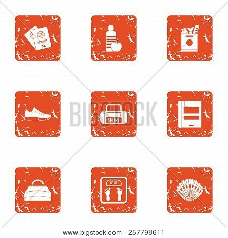 Sport Occupation Icons Set. Grunge Set Of 9 Sport Occupation Icons For Web Isolated On White Backgro