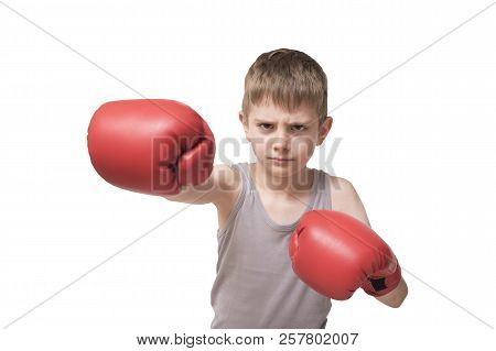 Angry Boy In Red Boxing Gloves. Isolated