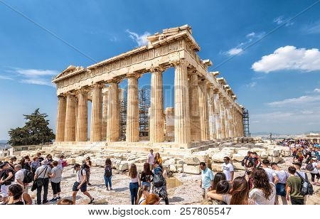 Athens - May 8, 2018: People Visit The Parthenon On The Acropolis In Summer, Athens, Greece. It Is A