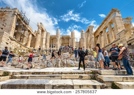 Athens - May 8, 2018: Propylaea Of The Famous Acropolis In Athens, Greece. This Entrance To Acropoli