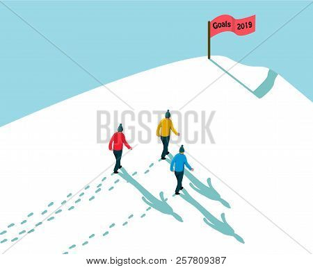 Goal 2019 Concept Achieving Reach The Target, Three Men Walking In Snow Up To Hill, Footsteps And Sh