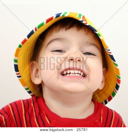 Beautiful Boy In Beach Hat