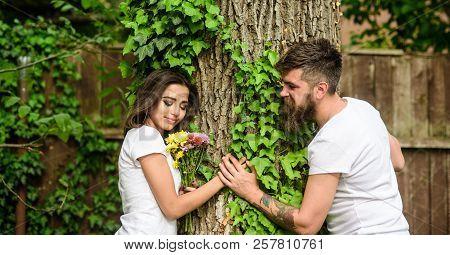 Park Best Place For Romantic Date. Enjoy Romantic Date In Park. Couple In Love Romantic Date Walk Na