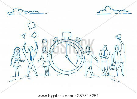 Businesspeople Standing Alarm Clock Time Management Deadline Concept Teamwork Punctuality Successful
