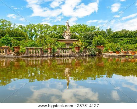 Fountain Ocean With Park Pond In Boboli Gardens, Florence, Italy