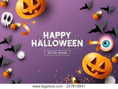Happy Halloween Purple Frame Background