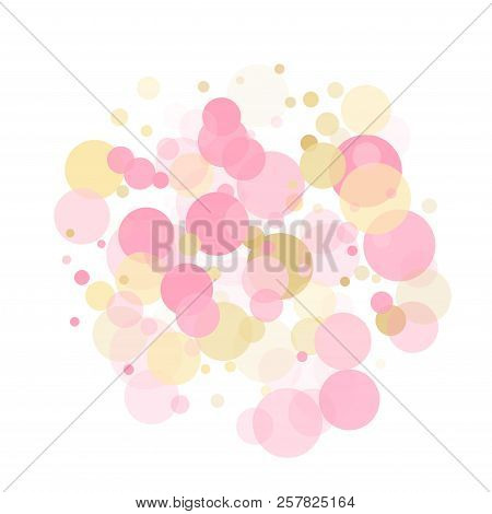 Rose Gold Confetti Circle Decoration For Christmas Card Background. Holiday Vector Illustration. Gol