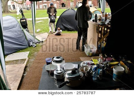 A scene from the kitchen area of the Occupy Exeter Camp