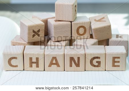 Organization Change, Business Transform, Disruption Or Evolve Concept, Cube Wooden Blocks Building T