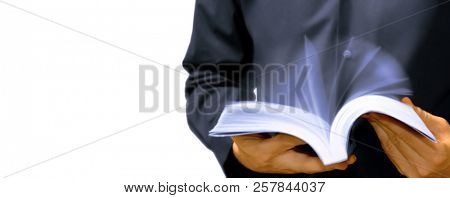 Fast learning concept, person reading and shuffle book pages, isolated on white