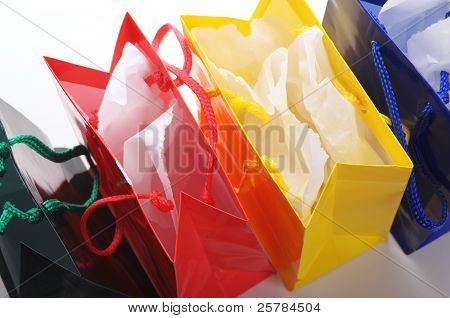 colored open bags