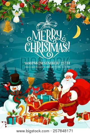 Merry Christmas Greeting Card And Xmas Party Invitation. Vector Santa With Gifts Bag On Sledge And S