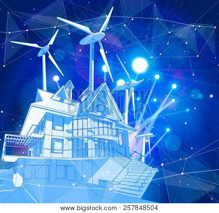 A modern house and windmills on a blue background surrounded by digital networks: an illustration of a smart eco-friendly home - the concept of modern information technology smart house or smart city