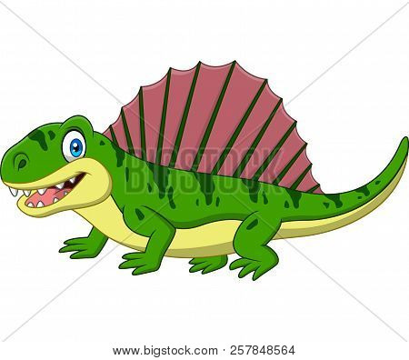 Vector Illustration Of Cartoon Smiling Dimetrodon Isolated On White Background
