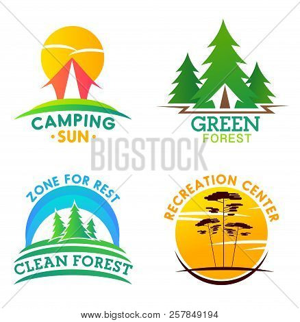 Camping And Clean Forest Or Recreation Center Icons. Forest Campground Park Heraldic Symbol With Ten