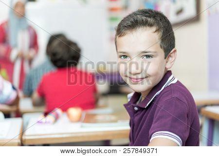 happy arabic student at school
