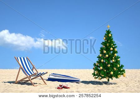 Winter holiday with Christmas tree on the beach next to a deck chair (3d rendering)