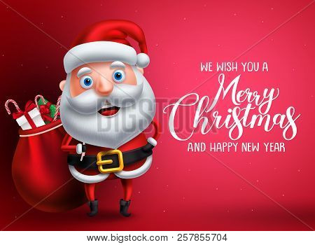 Santa Claus Vector Character With Merry Christmas Greeting Text In Red Background. Santa Claus Carry