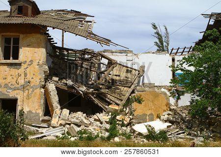 Russia, Crimea, Kerch - May 27, 2018: Razed Old Building. Architecture Image. Illustrative Editorial
