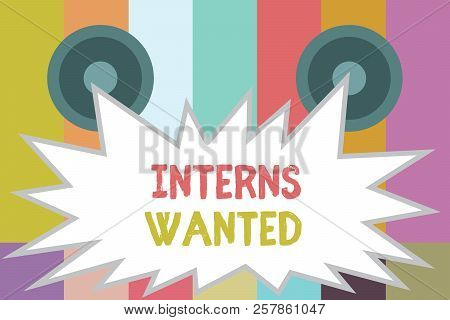 Word Writing Text Interns Wanted. Business Concept For Looking For On The Job Trainee Part Time Work
