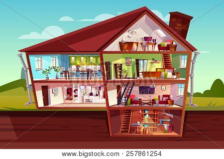 House Cross Section Vector Illustration Of Home Interior And Furniture. Cartoon Private Mansion Floo
