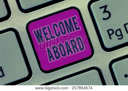 Writing note showing image photo free trial bigstock writing note showing welcome aboard business photo showcasing expression of greetings to a person w m4hsunfo