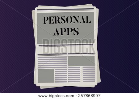 Word Writing Text Personal Apps. Business Concept For Organizer Online Calendar Private Information