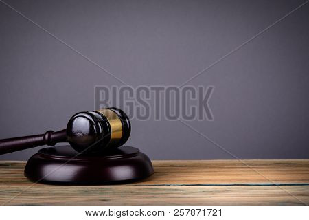 Law And Justice Concept With Gavel On Grey Background, Free Copy Space