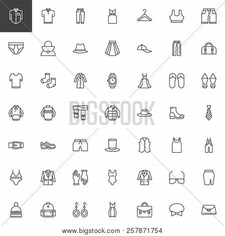 Clothes Outline Icons Set. Linear Style Symbols Collection, Line Signs Pack. Vector Graphics. Set In