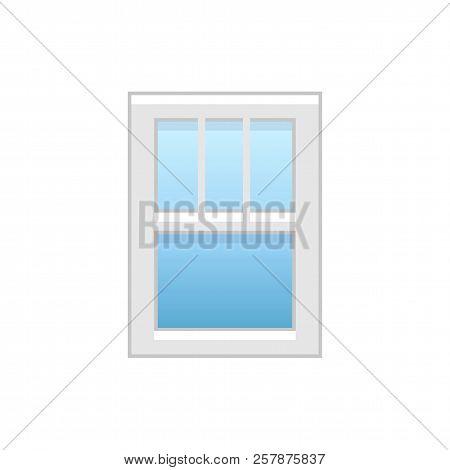 Vector Illustration Of Vinyl Single-hung Window. Flat Icon Of Traditional Aluminum Sash Window With