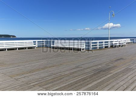 Wooden Sopot Pier In Sunny Day, Sopot, Poland. It Is The Longest Wooden Pier In Europe, 511,5 M Long