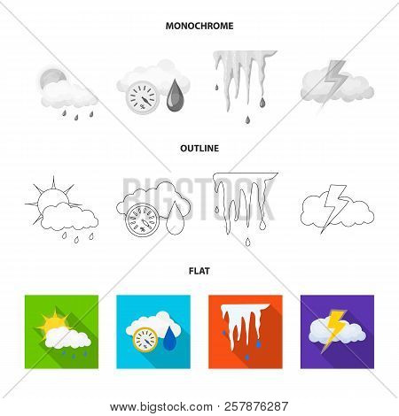 Vector Illustration Of Weather And Weather Sign. Collection Of Weather And Application Stock Symbol