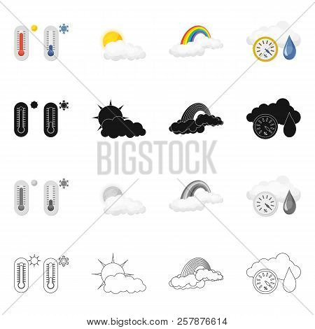 Vector Design Of Weather And Weather Logo. Collection Of Weather And Application Vector Icon For Sto