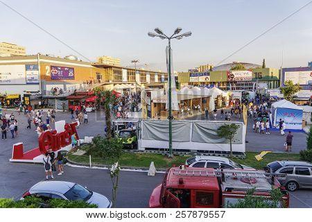 Thessaloniki, Greece - September 10 2018: Inside 83rd International Fair Pavilions With Crowd. Fair