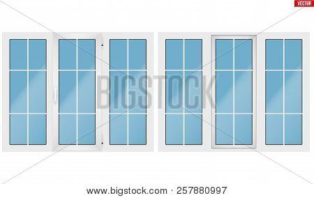Set Of Metal Plastic Pvc Window With Three Sash And One Opening Casement. Indoor And Outdoor View. P