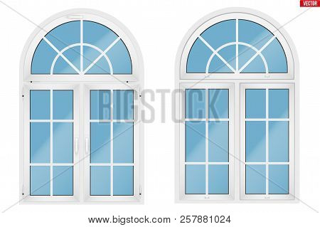 Metal Plastic Pvc Arch Window With Two Sash And Opening Casements. Indoor And Outdoor View. Models A