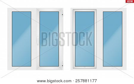 Set Of Metal Plastic Pvc Window With Two Sash And One Opening Casement. Indoor And Outdoor View. Pre