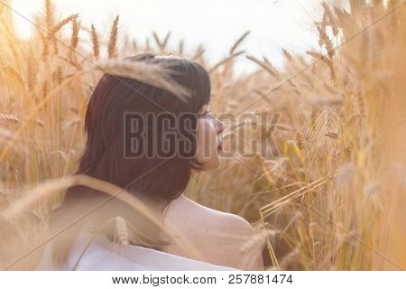 Cute Happy Beautiful Female Against A Background Of Wheat Field At The Time Of The Sunset. Shallow D