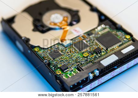 Hard disk drive on white background. Close up view. Selective focus. poster