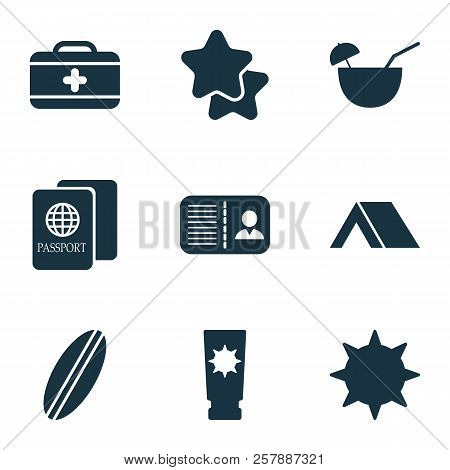 Journey Icons Set With Star, Tent, Surfboard And Other Tropical Drink Elements. Isolated Vector Illu