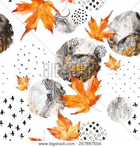 Modern Minimal Seamless Pattern Of Watercolor Floral Elements And Geometric Shapes. Watercolor Autum
