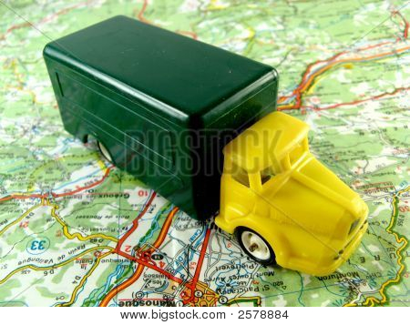 Yellow Truck On A Map