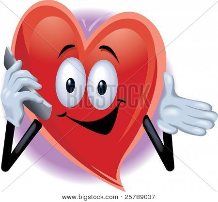 Heart Man on Cell Phone