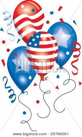Vector Patriotic Balloon grouping