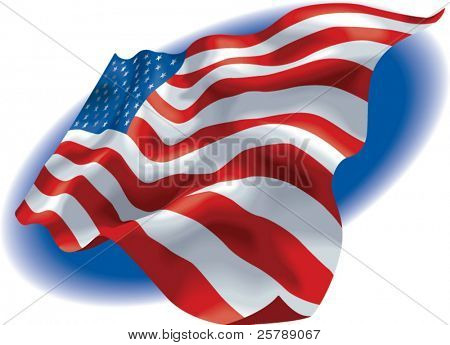Vector illustration of a American Flag with a blue fading background