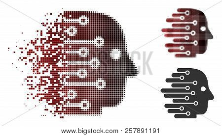 Artificial Intelligence Icon In Sparkle, Pixelated Halftone And Undamaged Entire Variants. Fragments