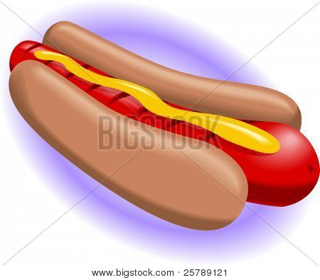 Vector Illustration of a Hot Dog with mustard