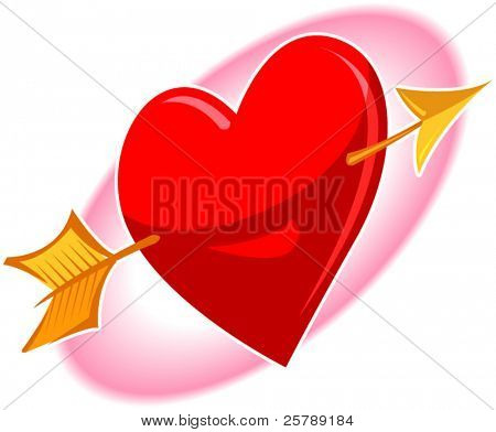 Vector Illustration of a heart with an arrow going through it